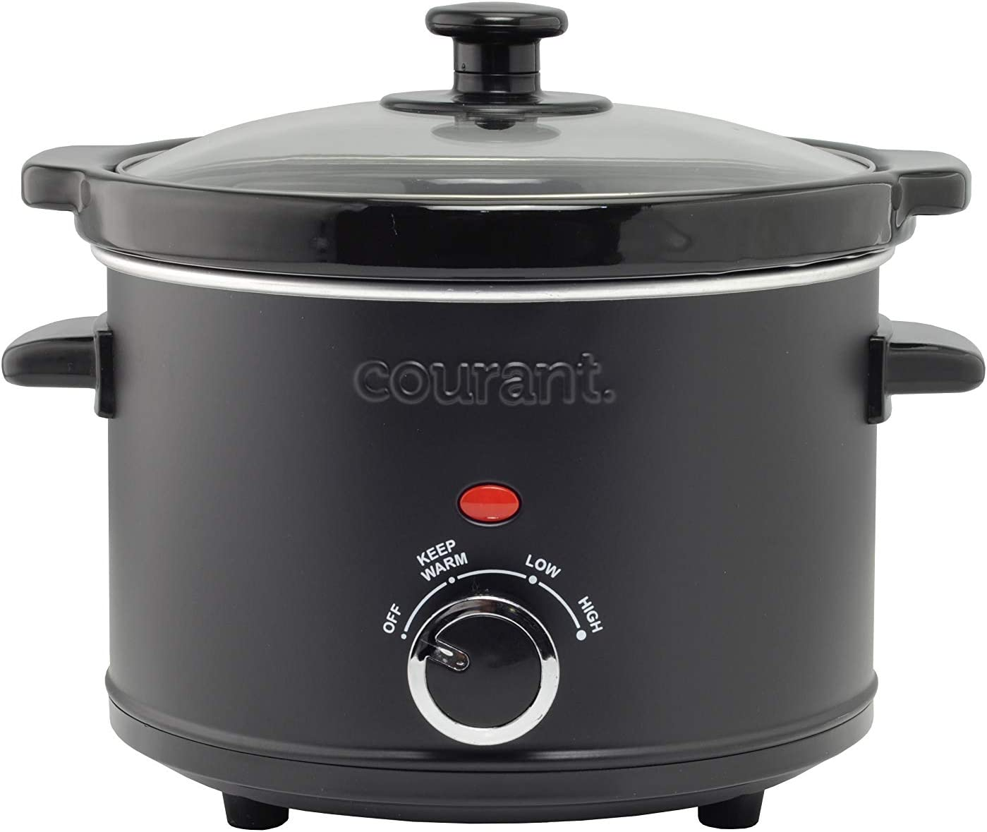 Courant Slow Cooker 2.5 Quart Crock, with Easy Cooking Options, Dishwasher Safe Pot and Glass Lid, Matte Black