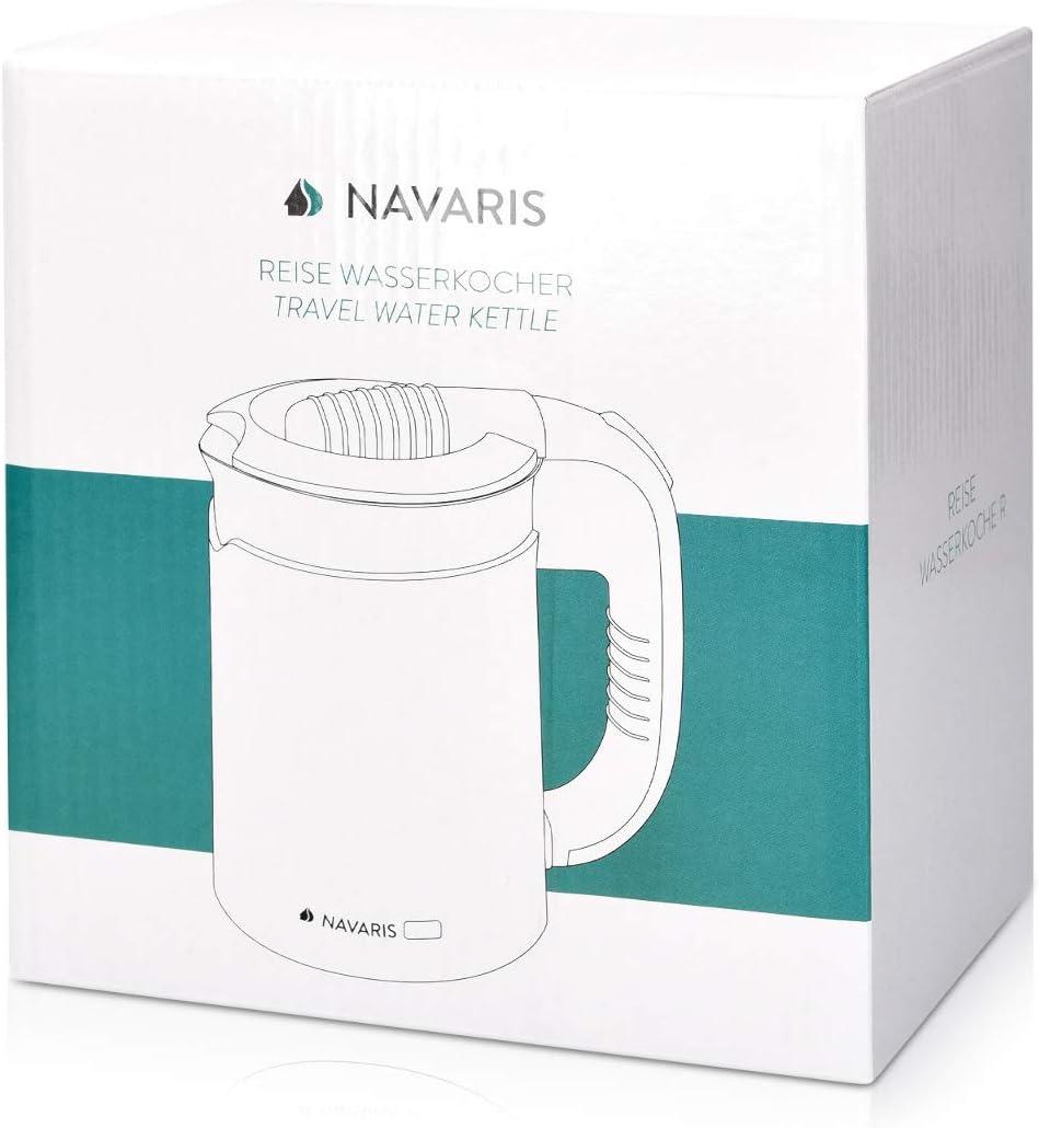 Navaris Hervidor de Agua de Viaje 0.5L Mini Tetera para hervir Agua con 2 Tazas Mini Calentador el/éctrico y port/átil para Camping o Viaje 1100W