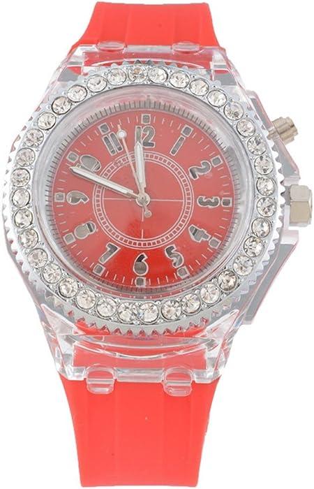 mjartoria Mujer brillantes Mode Reloj de pulsera elegante pulsera de silicona Mujer Reloj analógico de cuarzo reloj reloj deportivo rojo