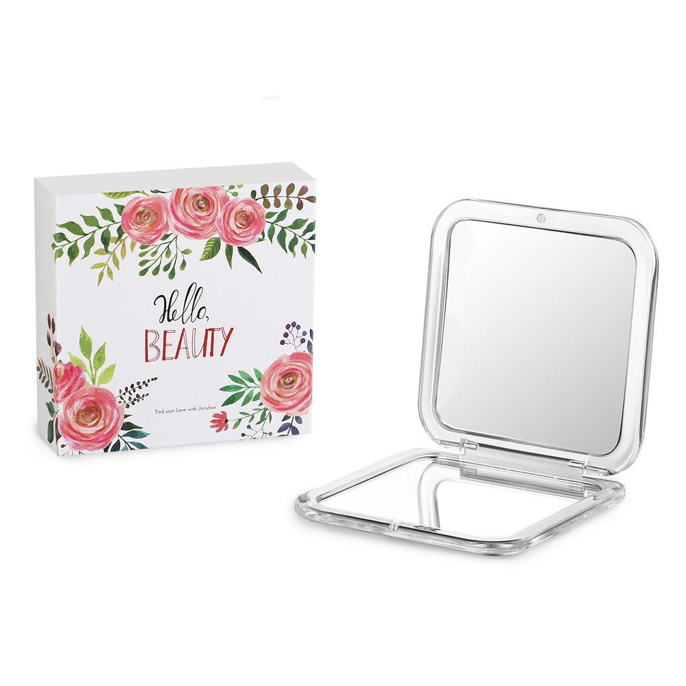 Jerrybox Compact Mirror, 2-sided with 5X Magnifying Mirror and 1x Mirror, pocket-size, perfect for Purses and Travel