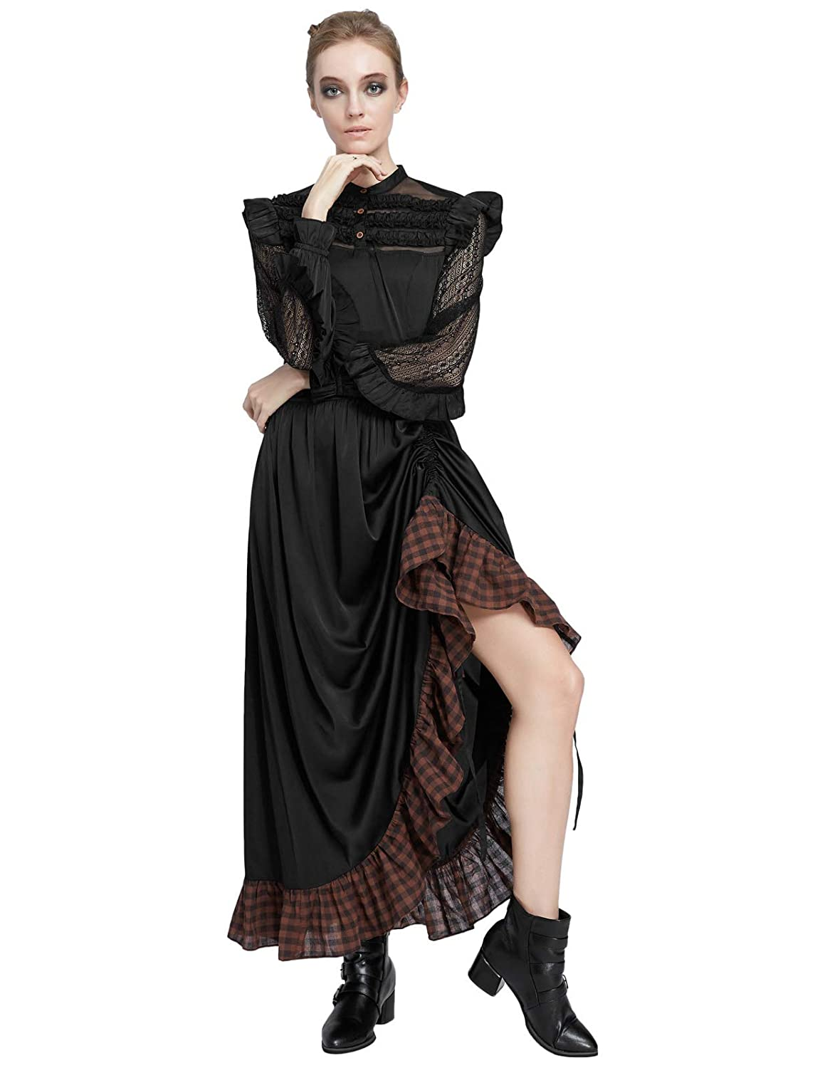 Steampunk Dresses | Women & Girl Costumes SCARLET DARKNESS Womens Victorian Renaissance Costume Adjustable Ruffle Dresses $37.99 AT vintagedancer.com
