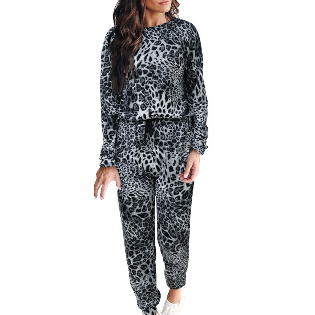 Zainafacai Women Tracksuit,Leopard Print Pants 2Pcs Sets Leisure Wear Lounge Wear Suit Sweatsuits Jogger Outfits Gray by Zainafacai