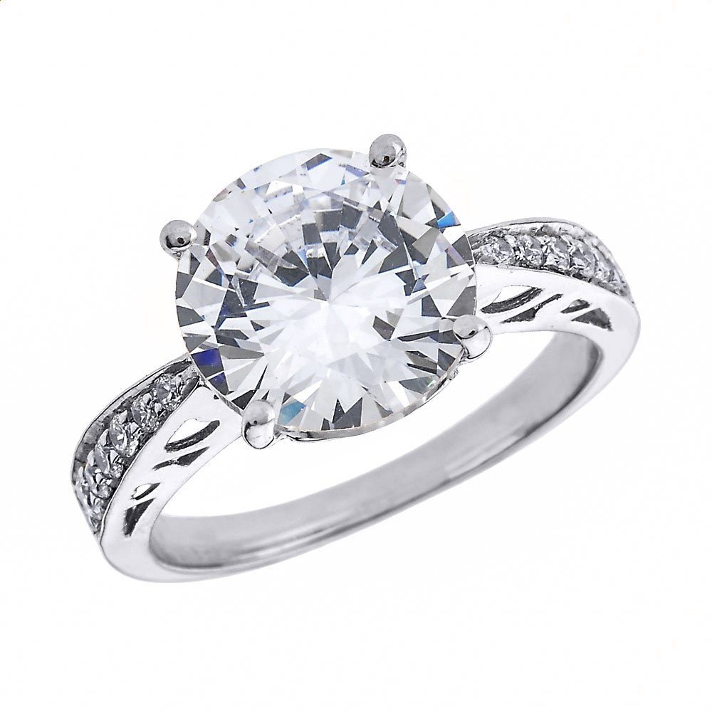 Solid 10k White Gold 6.0 ct CZ Solitaire Engagement Ring(Size 8) by CZ Engagement Rings