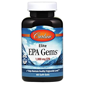 Carlson - Elite EPA Gems, 1000 mg EPA Fish Oil, Wild-Caught, Norwegian Fish Oil Supplement, Sustainably Sourced, Helps Maintain Healthy Triglyceride Levels, 60 Softgels