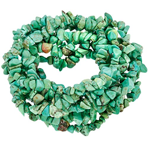 - SUNYIK Green Howlite Turquoise Tumbled Chip Stone Irregular Shaped Drilled Loose Beads Strand for Jewelry Making 35