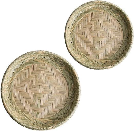 Bandeja de fruta de bambú hecha a mano Snack-Caja de ...