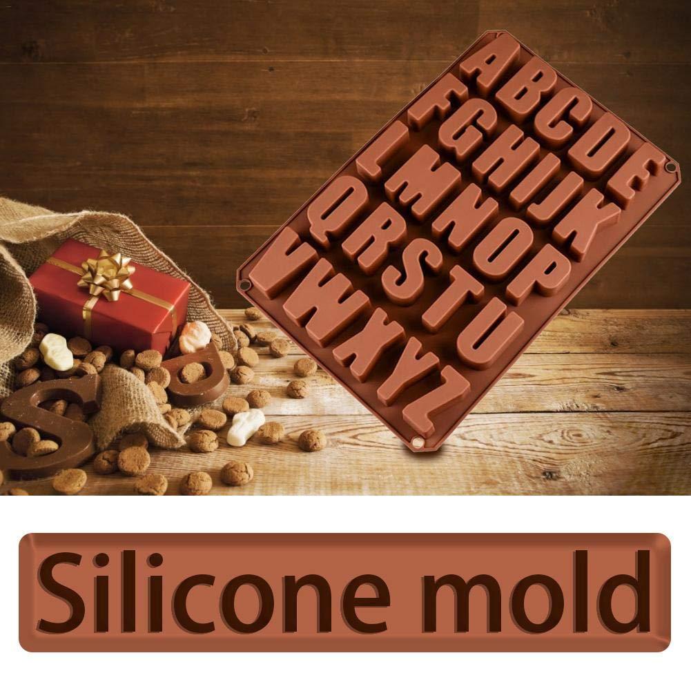 SUPERLOVE Silikon Backform Mit 26 L/öchern Englisch Buchstaben Schokoladenform Backen Eisw/ürfel Gelees Kekse Form Utensilien