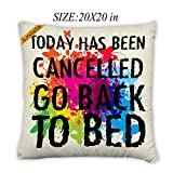 Artsbaba Pillowcases Today Has Been Cancelled Go Back To Bed Zipped Pillowcase Decorative Throw Pillow Cover 20''x20''