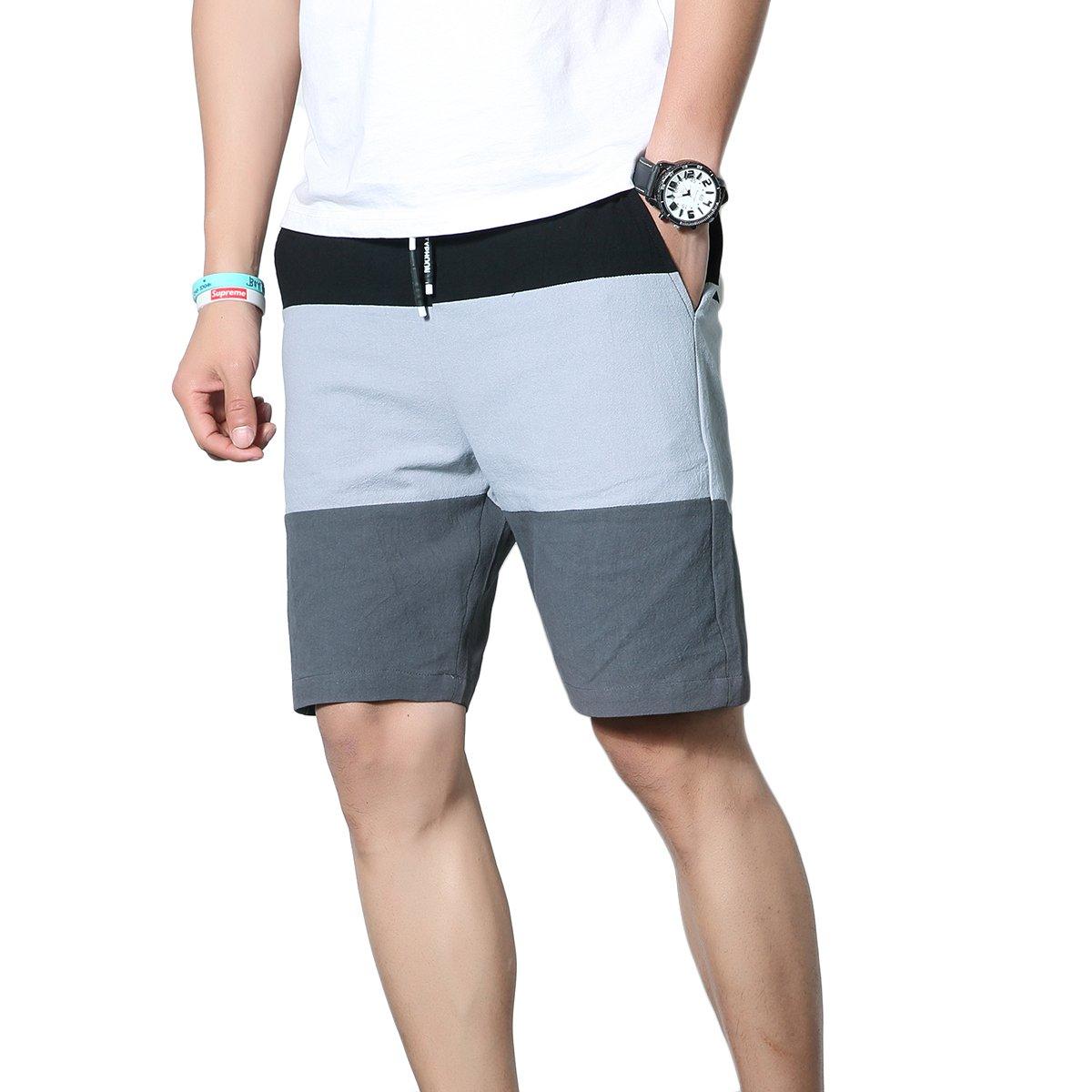 K&S Men's Linen Casual Classic Fit Drawstring Summer Beach Shorts (M, Z22-Gray)