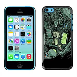 PC/Aluminum Funda Carcasa protectora para Apple Iphone 5C Alien Spaceship Mysterious Drawing / JUSTGO PHONE PROTECTOR