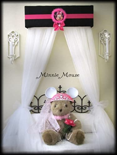 Minnie Mouse Disney inspired Bed Canopy for Girls Bedroom Crib Nursery FREE  white sheer curtains custom designed by So Zoey Boutique