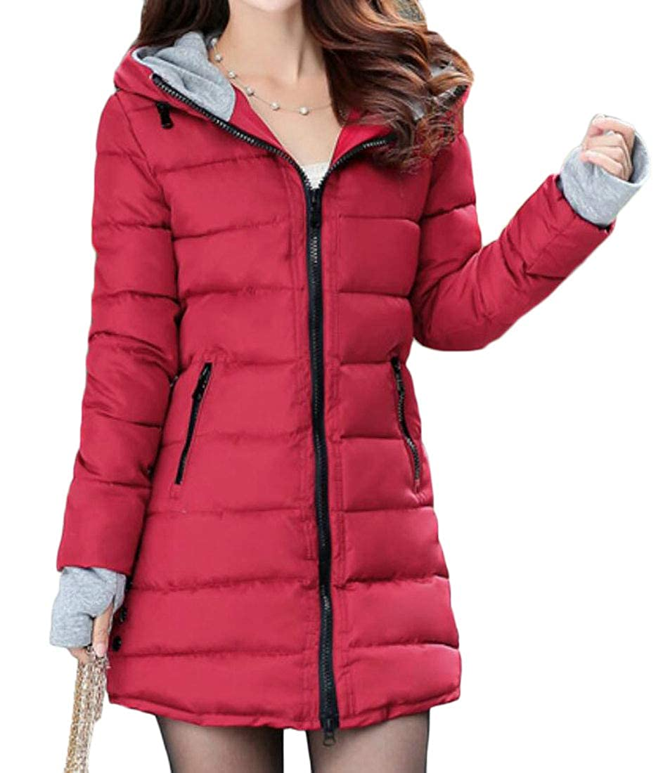 Rrive Womens Quilted Hooded Full-Zip Down Coat Puffer Jackets with Pockets