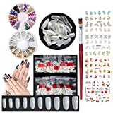 Oval Acrylic Nails Tips Natural Full Cover Fake Nails Long Decoration Stud Rhinestones Painting Brushes Watermark Nail Art Stickers Decal Salon and DIY Design Accessories (SET14A)