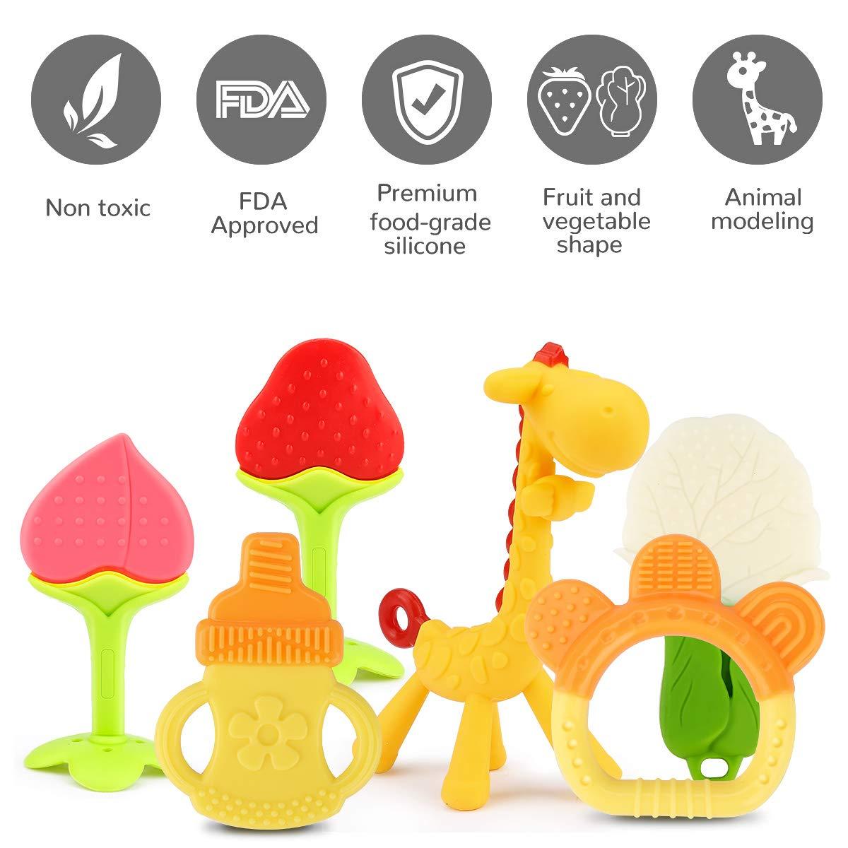 6er Set ab 3 Monaten Kleinkinder Zwini Baby Bei/ßspielzeug Set Soft Sensory Baby Bei/ßring Silikon Bei/ßschnuller Kaumassage Bei/ßring Set f/ür Babys