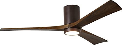 Matthews IR3HLK-TB-WA-60 Irene 60 Outdoor Hugger Ceiling Fan with LED Light and Remote Wall Control, 3 Wood Blades, Textured Bronze