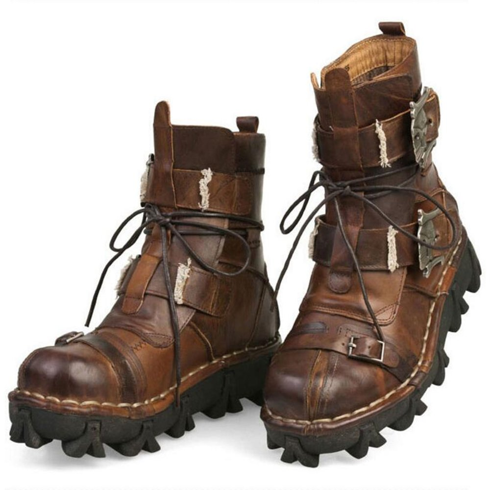 Steampunk Boots and Shoes for Men Mens Brown Genuine Leather Military Army Boots Gothic Skull Punk Motorcycle Boots $89.00 AT vintagedancer.com
