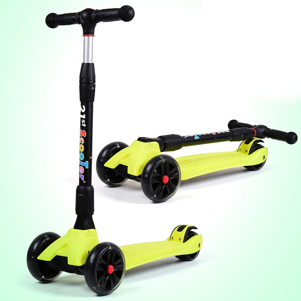 Children Frog Scooters Outdoor Aluminum Lightweight Folding Four Wheel Flash Sliding Pulley for 3-14 Years Old Kids