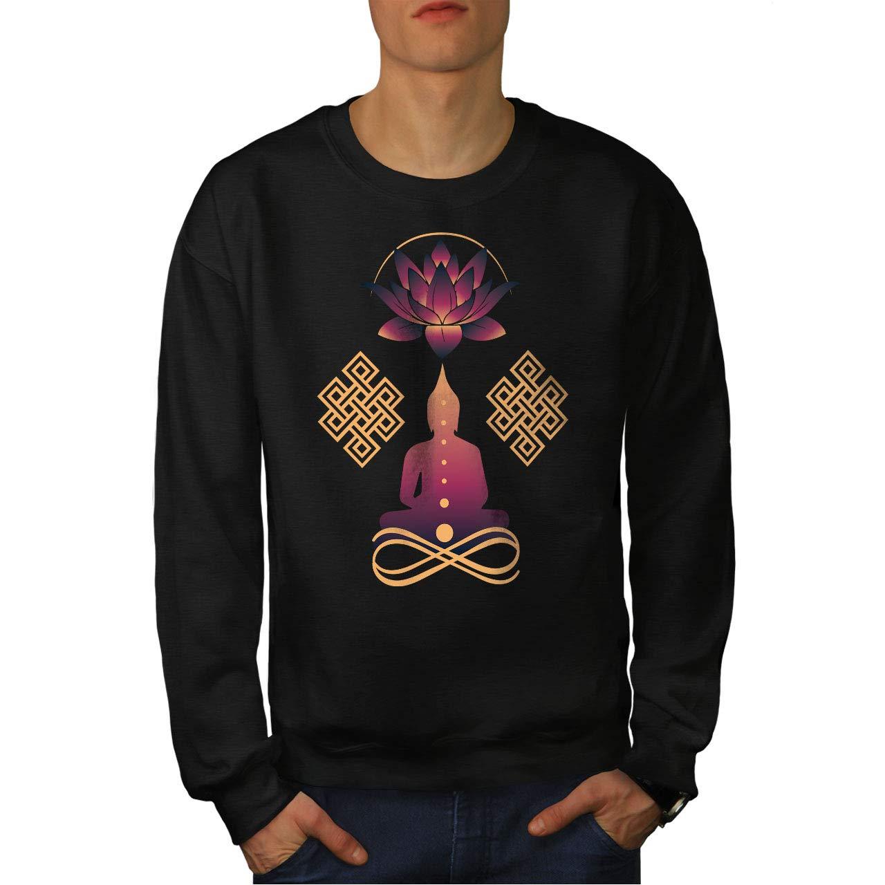 wellcoda Yoga Mindful Mens Sweatshirt Peace Art Casual Jumper
