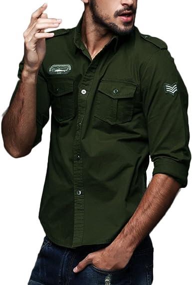Camisa De Hombre Casual Fit Cargo Festiva Ropa Slim Cargo Vestido De Manga Larga Blusa Superior Camisas De Ocio Camisas De Ajuste Regular para Hombre Oversize Otoño Negro Azul Verde Beige Tallas: