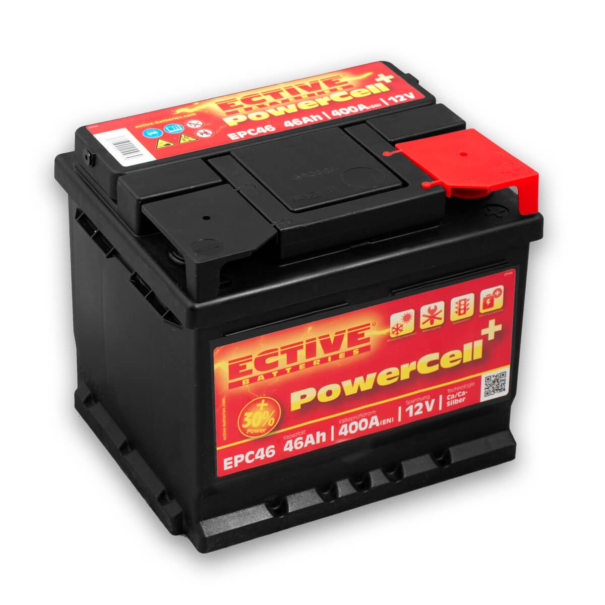 ECTIVE 72Ah 650A EPC-Serie 12V Autobatterie in 8 Varianten: 46Ah - 100Ah (wartungsfrei) EPC72