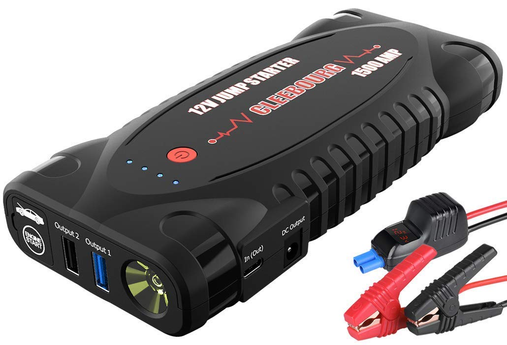 CLEEBOURG Portable Car Jump Starter 1500Amp 12000mAh 12V For Heavy-duty Vehicle(Up For 8.0L Gas & 6.5L Diesel), Emergency Battery Boosters Power Bank With3.0 Dual USB Charger, LED Flashlight