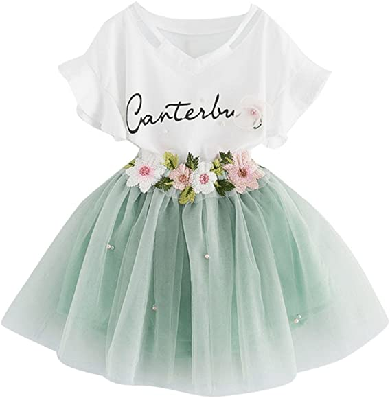 Mädchen Baby Outfit Tüllrock Geburtstag Party Outfits Set Tutu Kleid Rock Bluse