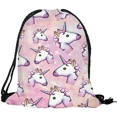 durable service Ababalaya 3D Unicorn Print Drawstring Backpack Rucksack Shoulder Bags Gym Bag 25 Types