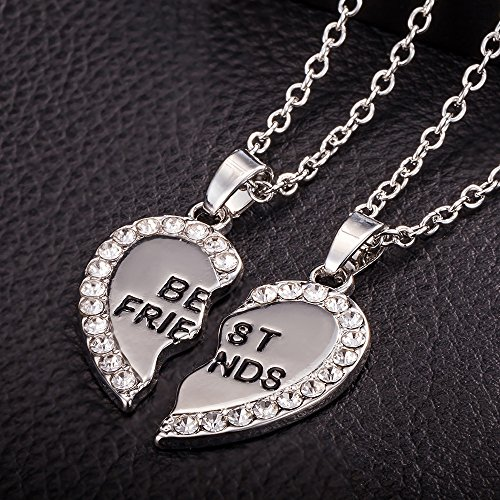BBF Necklace,Haluoo Best Friends 2 Pcs Necklaces 925 Sterling Silver Reinestone Necklace Gold Friendship Heart Pendant Necklace Jewelry Gifts for Birthday Thanksgiving Christmas Graduation (Silver)
