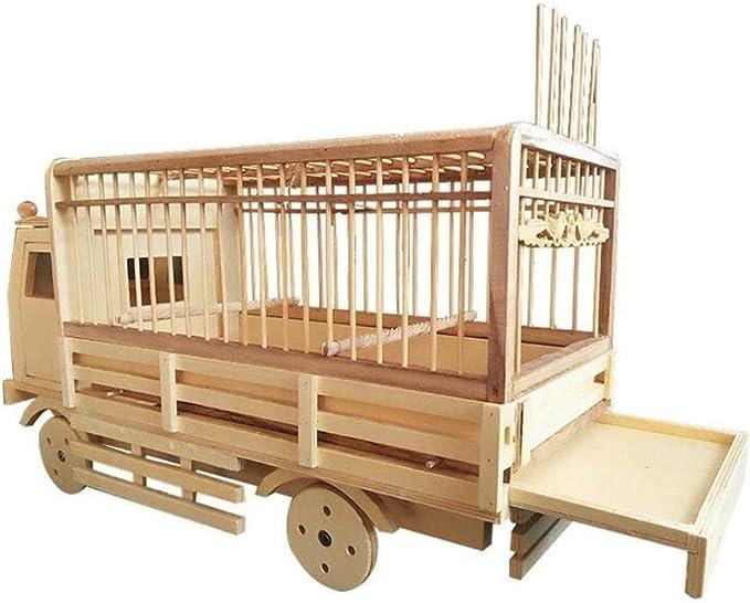 Jaula dpájaros duradera y ecológica, Decoración diaria Birdcage Creative Bamboo Bird Cage Suministros para mascotas Modelado de automóviles Rueda Slidable para loros y canarios Aviary Jaula para pájar