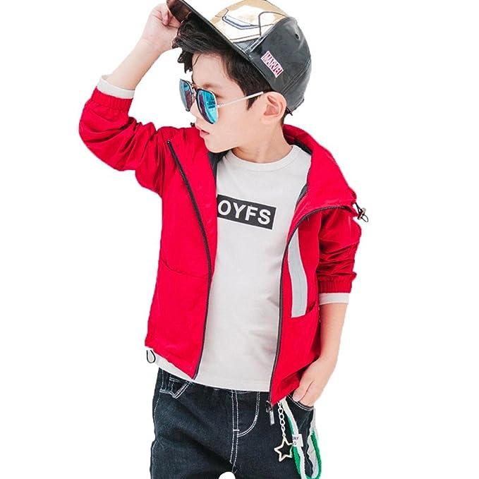 Niño Ropa Abrigo Chaqueta Chico Vestidos Corto Rompevientos Manga Larga Algodón Ocio Bebé Moda Otoño Casual Tops Personalidad Sudadera ZYS, red, ...