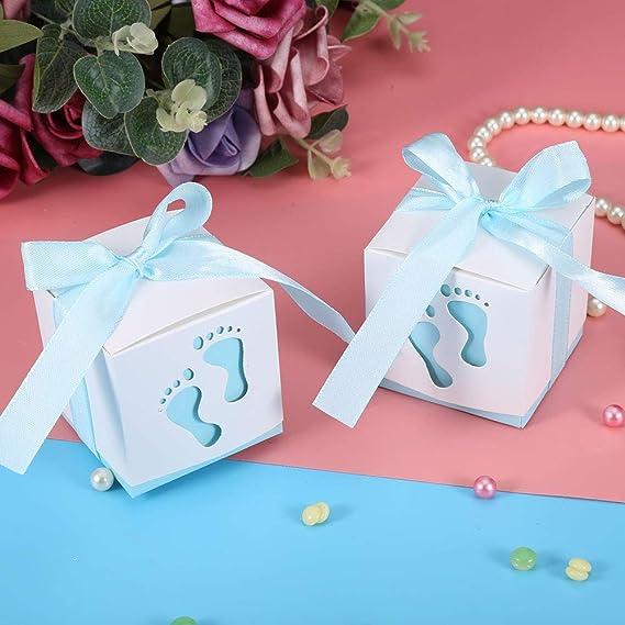 JZK 50 x Huella Azul Cajas Papel Baby Shower Cajas de Favor para ni/ño Baby Shower ni/ño cumplea/ños Fiesta Bautizo Bautismo reci/én Nacido
