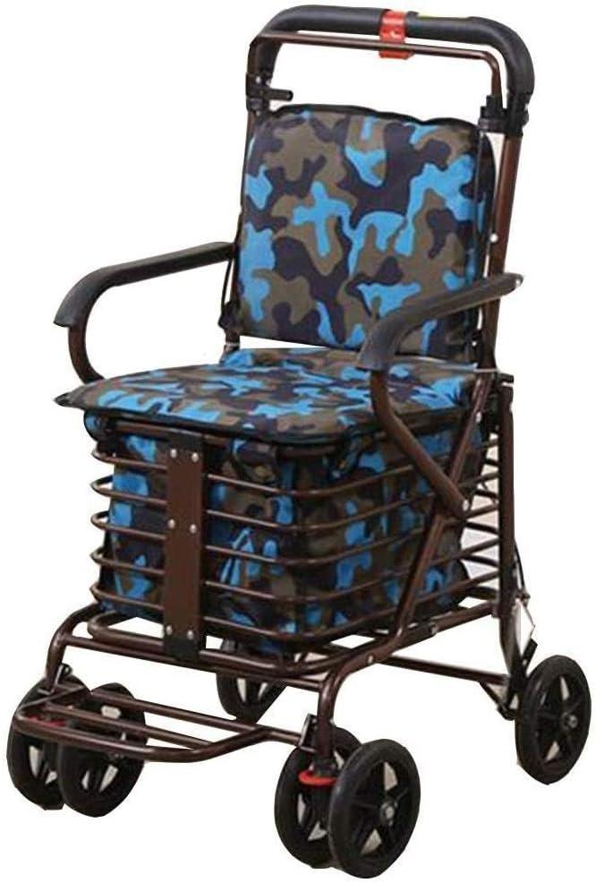 Carrito de la compra de lujo 6 ruedas, plegable, robusto y estable móvil el dispositivo de asistencia, Portátil 100 kg Teniendo Walker