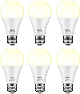 Govee Smart Automatic Sensor Bulbs, Outdoor Dusk to Dawn Light Bulbs6 Packs, E26 7W 600lm, Warm White Decorative Photocell Lighting Bulbs for Porch Garage Patio
