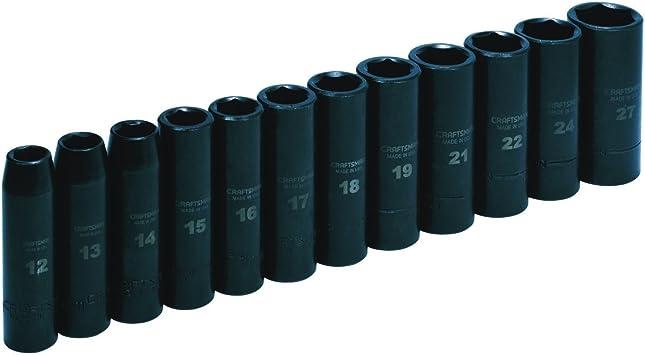 Craftsman 12 pc 1//2 Drive SAE Deep Impact Socket Set