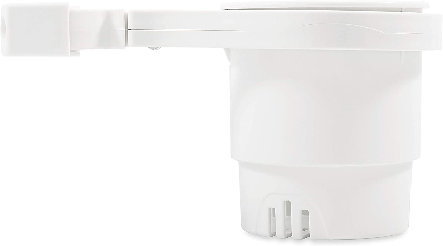 Camco Small Clamp Mounted Cup Holder-Provides a Secure Location for Your Beverage-Mountable for Up to 1-1/4-Inch Rail-White (53086)
