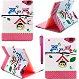 iPad Case, iPad 2/3/4 Case, JCmax PU Leather Rotating Stand Case Cover with Credit Card Slots and Flip Magnetic Closure for Apple iPad 2/3/4 -Owl Family