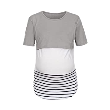 263de1d79b3 Women's Comfy Maternity Nursing Tee Shirt Short Sleeve Striped Flattering  Sides Double Layer Breastfeeding Tops (