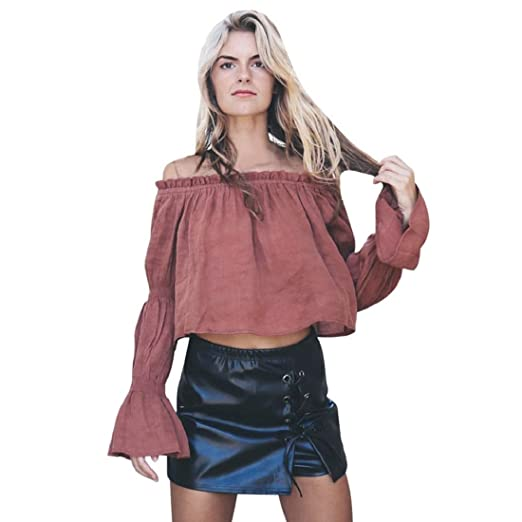 6d3840f22e3b4 GONKOMA Clearance Women s Pink Off Shoulder Tops Blouse Fashion Long Sleeve  Shirt Casual Loose Crop T