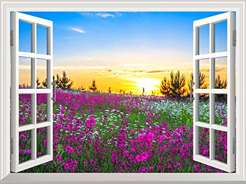 Removable Wall Sticker Wall Mural Beautiful Summer Sunrise over a Blossoming Meadow Creative Window View Wall Decor