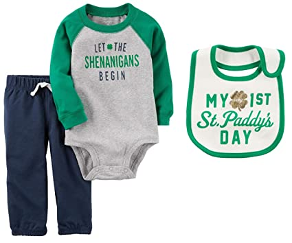 Carter s Boys Baby s First St Patrick s Day Bodysuit Pants and Bib Set Let  The Shenanigans Begin 615495d07