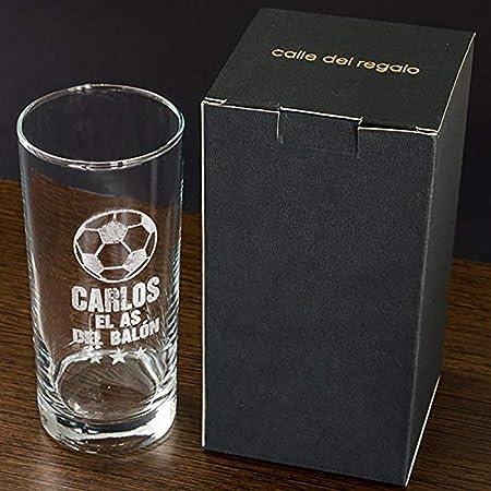 Regalo Personalizable para Hombres por su cumpleaños: Vaso de Whisky Grabado con un balón de fútbol, el Nombre Que tú Quieras y el Texto el as del ...