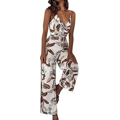 75131694fbe JERFER Combinaison Femme Combishort Long imprimé sans Manches à col en V  Combi-Pantalon Jumpsuit Rompers  Amazon.fr  Vêtements et accessoires