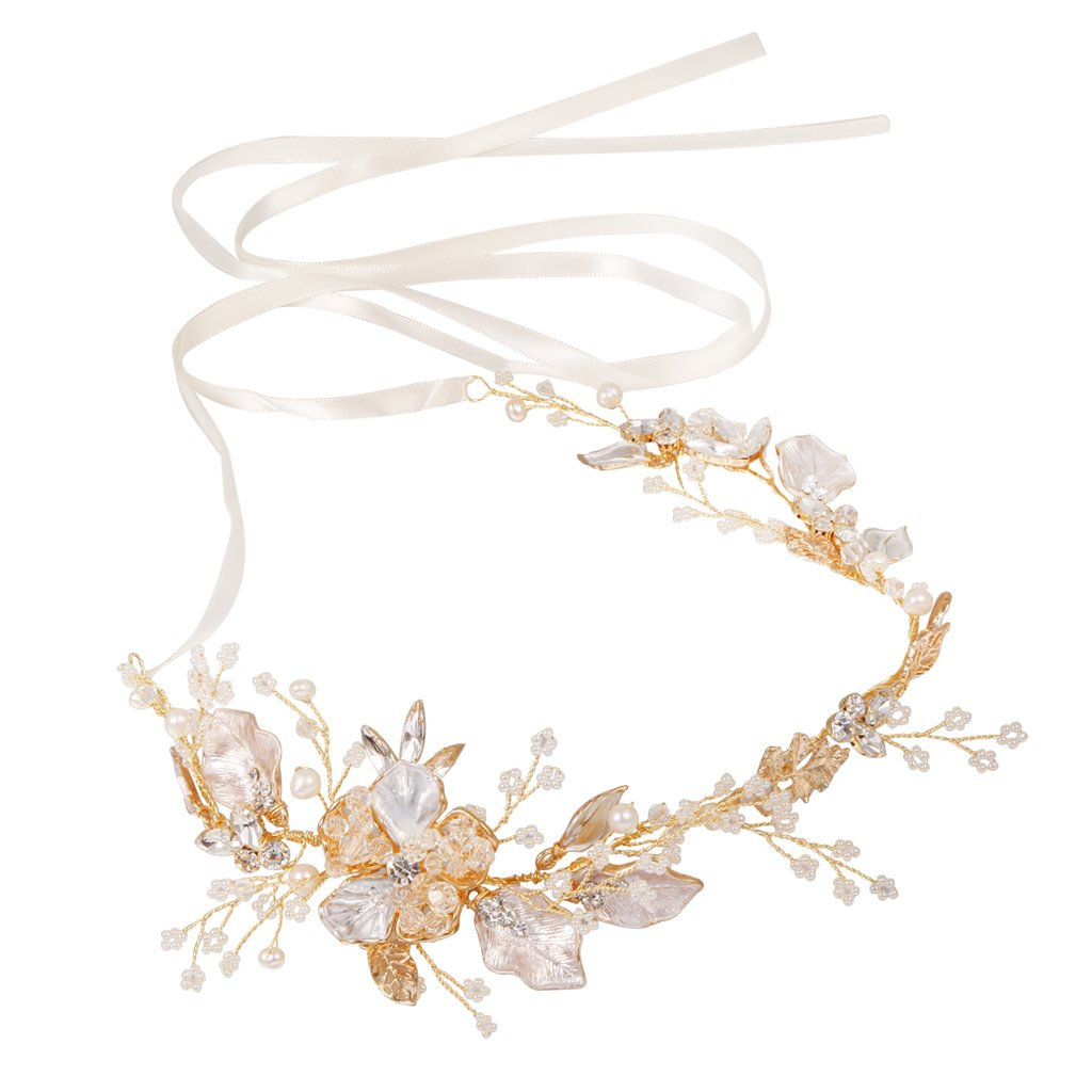 Jili Online Crystal Pearls Floral Vine Headband Tiara Wedding Bride Prom Hair Accessory