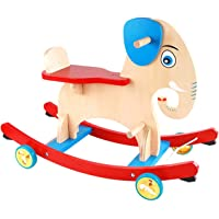 TEMSON Cute Wooden Balancing Elephant Ride On Cycle with Moveable Handle Toy for Kids