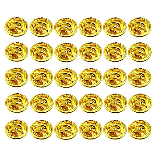 ThreeBulls 30 Pcs Gold Comfort Fit Butterfly Clutch Metal Pin Backs Replacement (Gold)