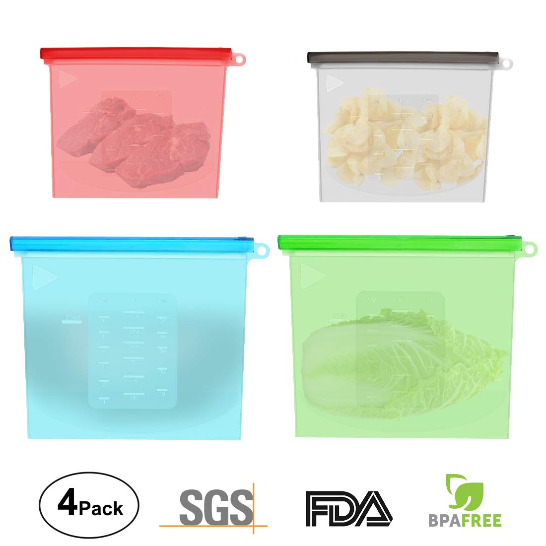 4 Packs Reusable Silicone Food Storage Preservation Bags,Eco Friendly and BPA Free,Ideal for Food Storage, Heating, Steaming, Cooking, Freezing, Sous Vide-2 Small & 2 Large