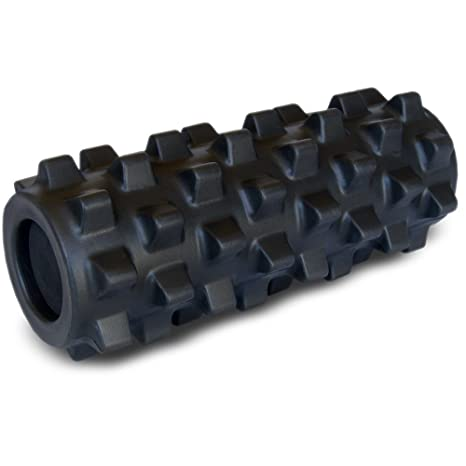 Rumble Roller Half Size Extra Firm Black - Textured Muscle Foam Roller Manipulates Soft Tissue Like A Massage Therapist - 12 Inches by RumbleRoller