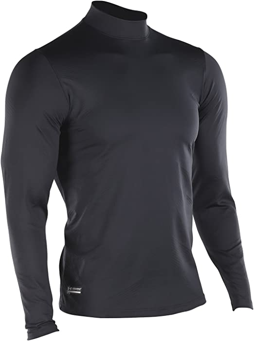 New With Tags Men's ColdGear® Long Sleeve Fitted Mock Gray White Green