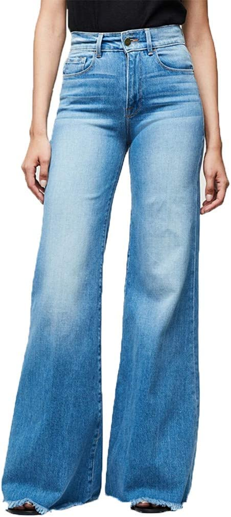 Womens High Waisted Denim Flare Pants Plus Size Slim Butt Lift Bell Trousers Frayed Raw Hem Stretchy Fitted Jeans Pant 2019 Classic Long Denim Wide Leg Pants