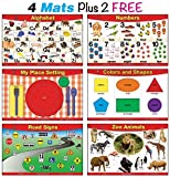 brainymats Educational Kids Placemats Set of 4 + 2 FREE (Basic Skills)- Alphabet, Counting 1 to 10, Place Setting, Colors and Shapes Plus 2 – FREE- Zoo Animals and Road Signs - Double Sided - Washable